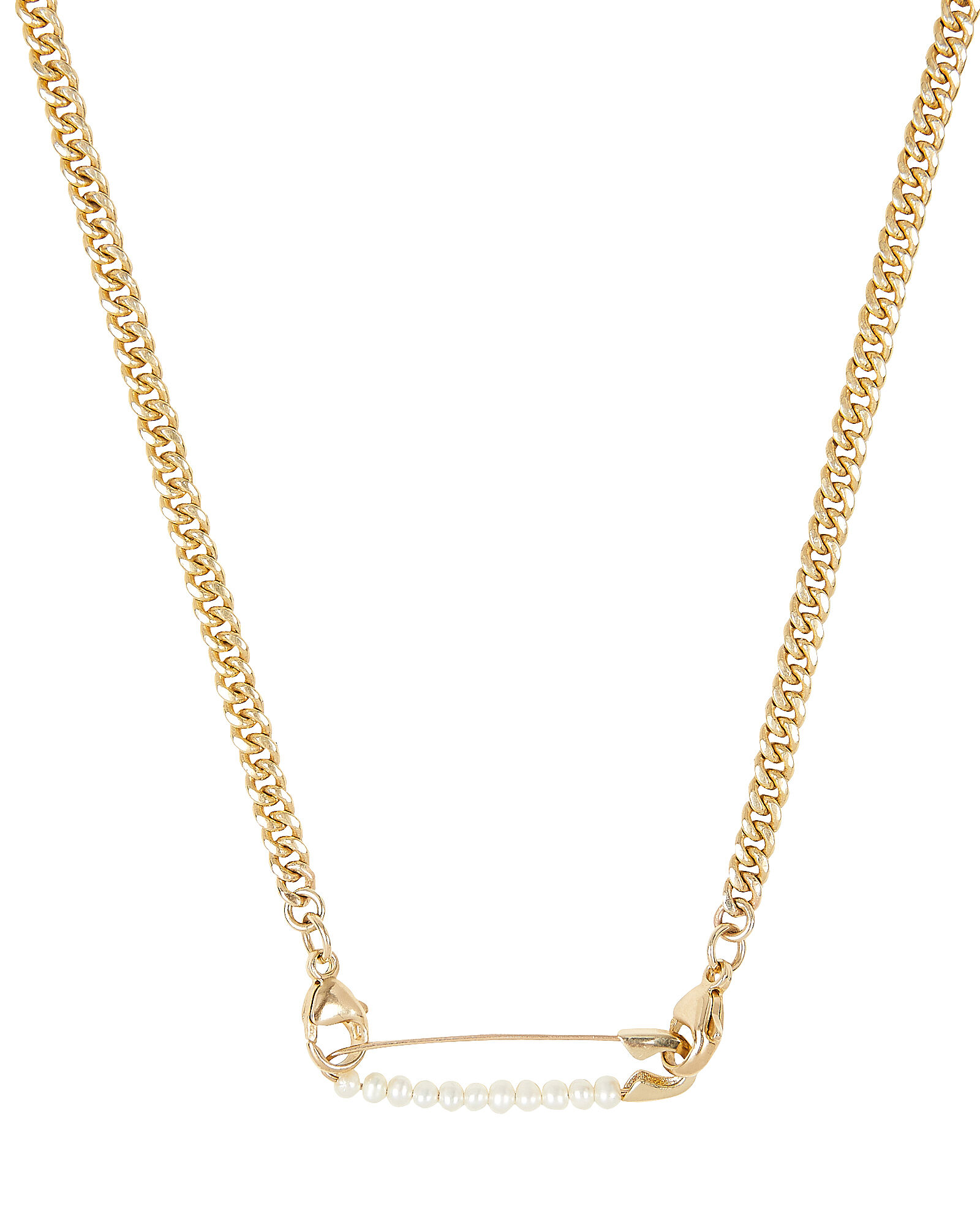 Safety Pin Curb Chain Necklace, GOLD, hi-res