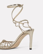 Lovella Lizard-Embossed Leather Sandals, GOLD, hi-res