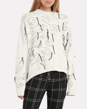 Swallow Embroidered Crew Neck Sweater, WHITE/BLACK, hi-res