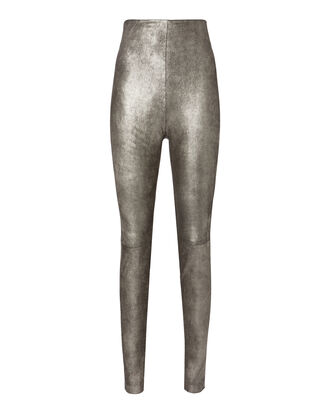 Jessica Silver Leather Pants, METALLIC, hi-res