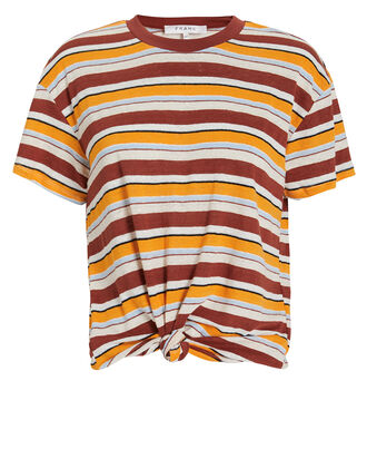 Striped Linen Knotted T-Shirt, YELLOW/STRIPES, hi-res