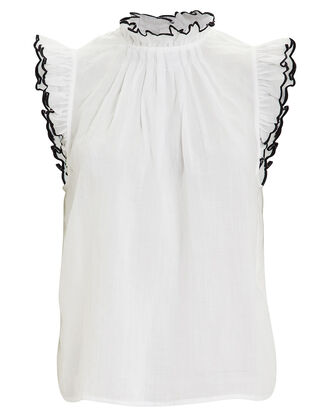 Tipped Sleeveless Top, WHITE, hi-res