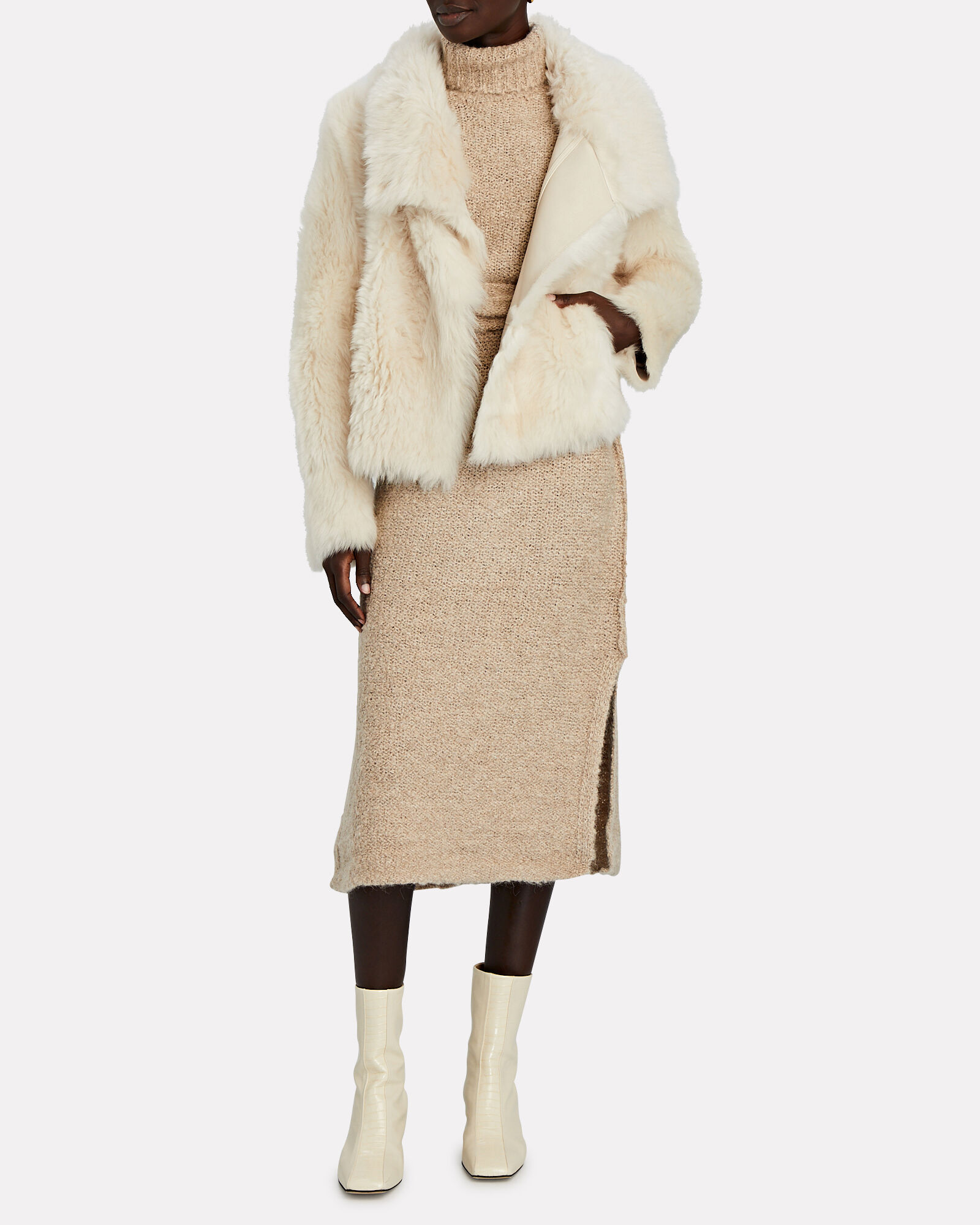 Reversible Shearling Jacket, IVORY, hi-res