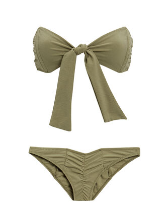Poppy Ruched Bikini, METALLIC OLIVE, hi-res