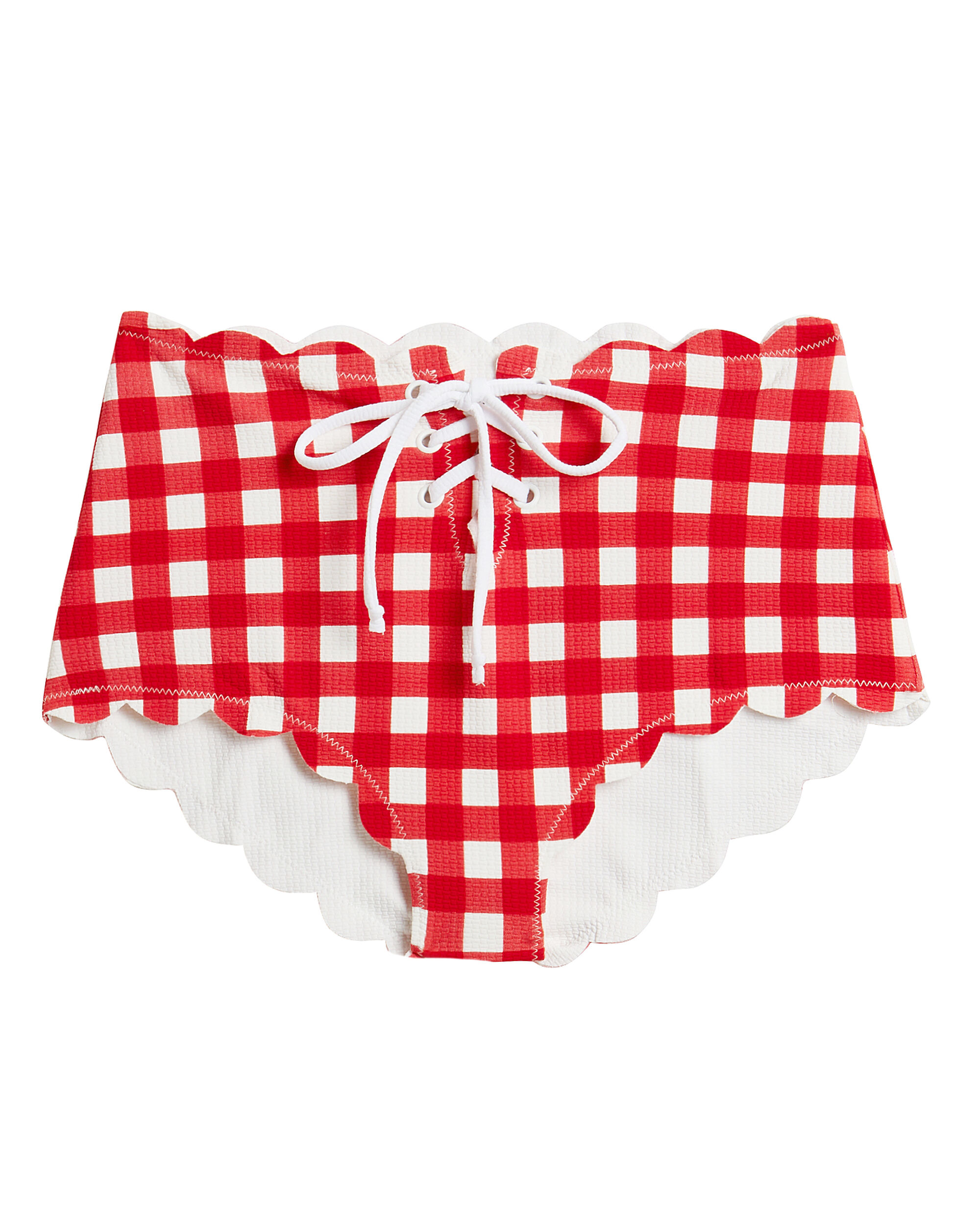 Riviera Lace Up Bikini Bottoms, RED/GINGHAM, hi-res