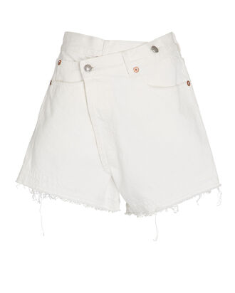 Crossover Distressed Denim Shorts, NICO WHITE, hi-res