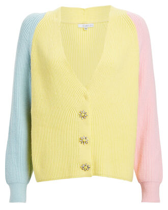Tally Colorblock Cardigan, YELLOW/PINK, hi-res