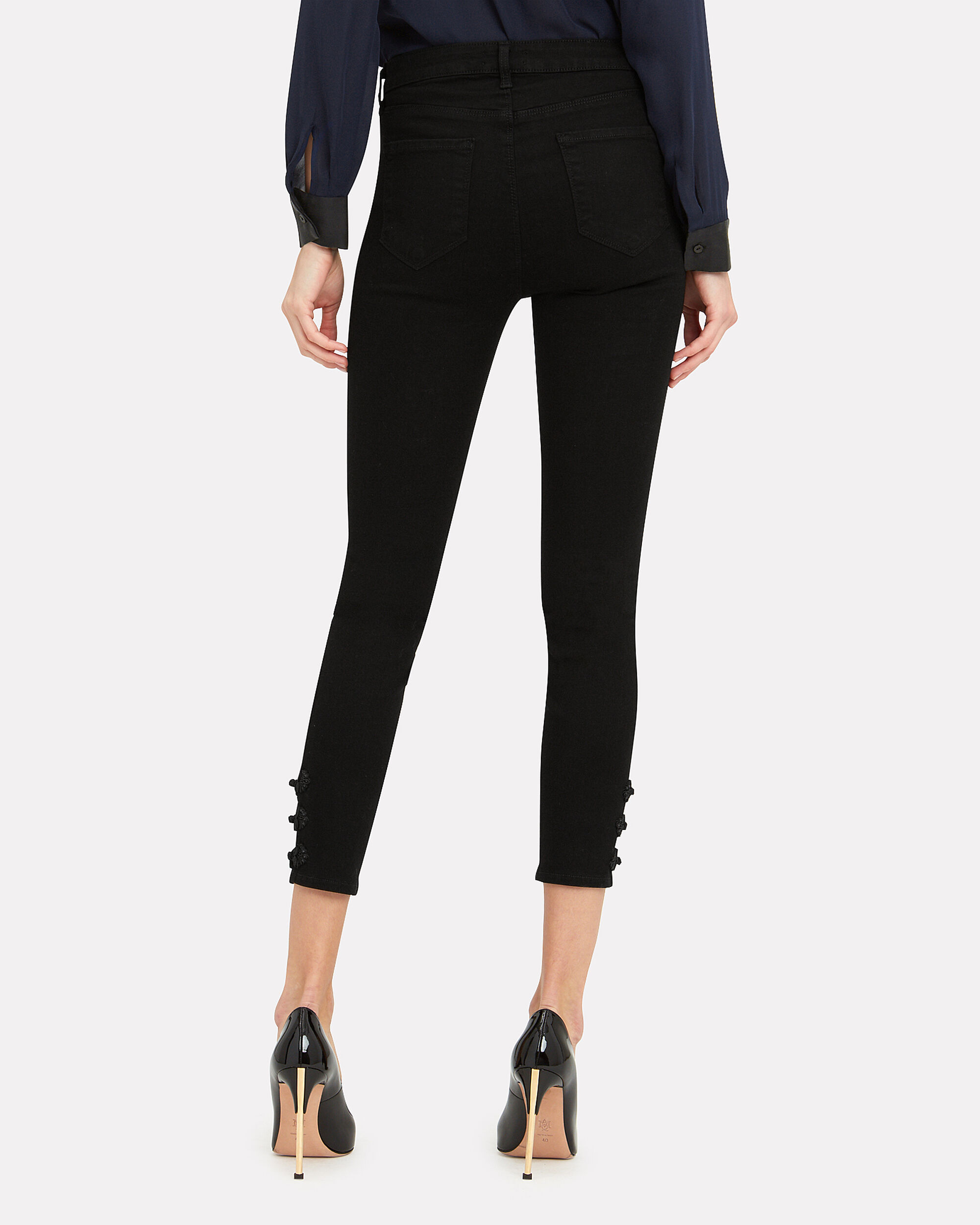 Margot Braided Detail High-Rise Ankle Skinny Jeans, BLACK, hi-res