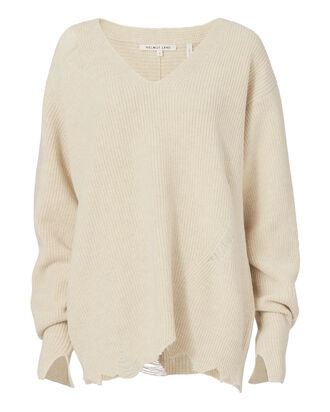 Distressed V-Neck Sweater, BEIGE/KHAKI, hi-res