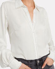 70's Contrast Stitch Silk Shirt, WHITE, hi-res