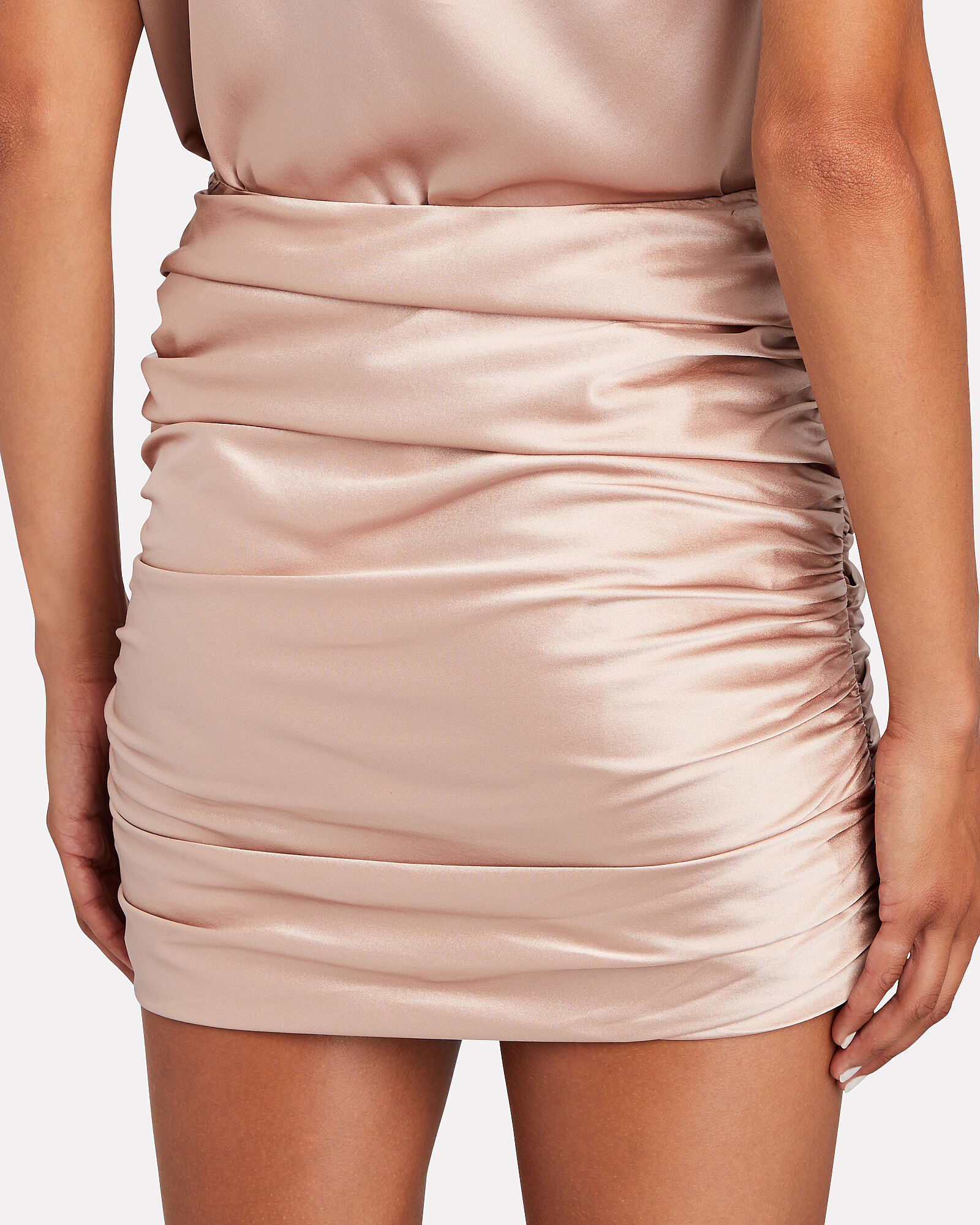 Ruched Silk Mini Skirt, PINK, hi-res