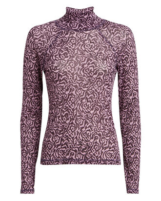 Madi Printed Mesh Turtleneck, PURPLE-LT, hi-res