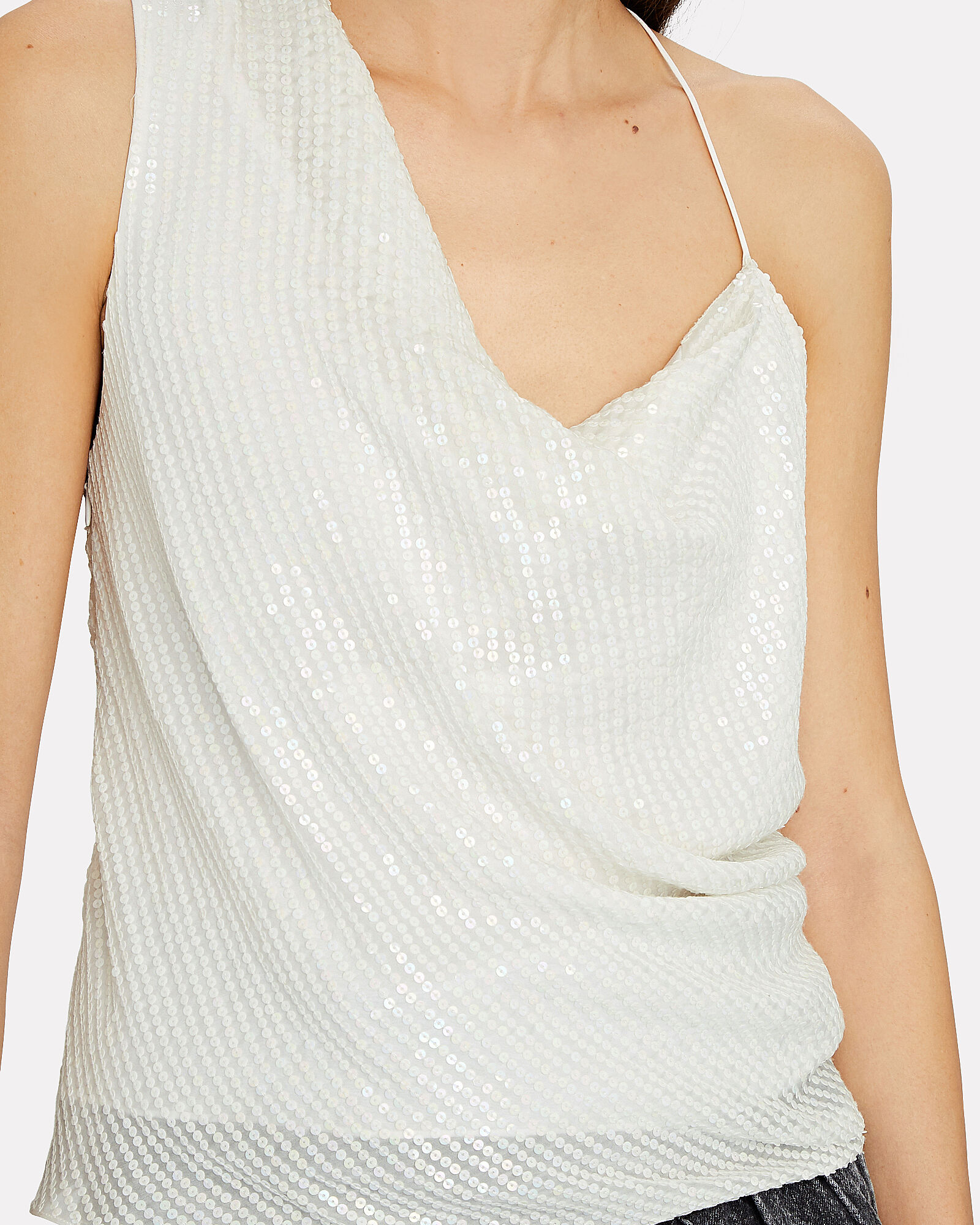 Sequined Asymmetrical Silk Top, WHITE, hi-res