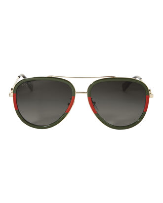 Colorblock Aviator Sunglasses, GREEN/RED/GOLD, hi-res