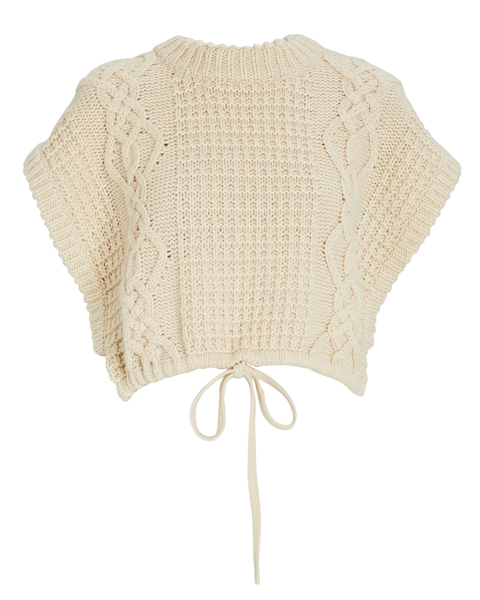 Camille Sleeveless Cable Knit Sweater, BEIGE, hi-res