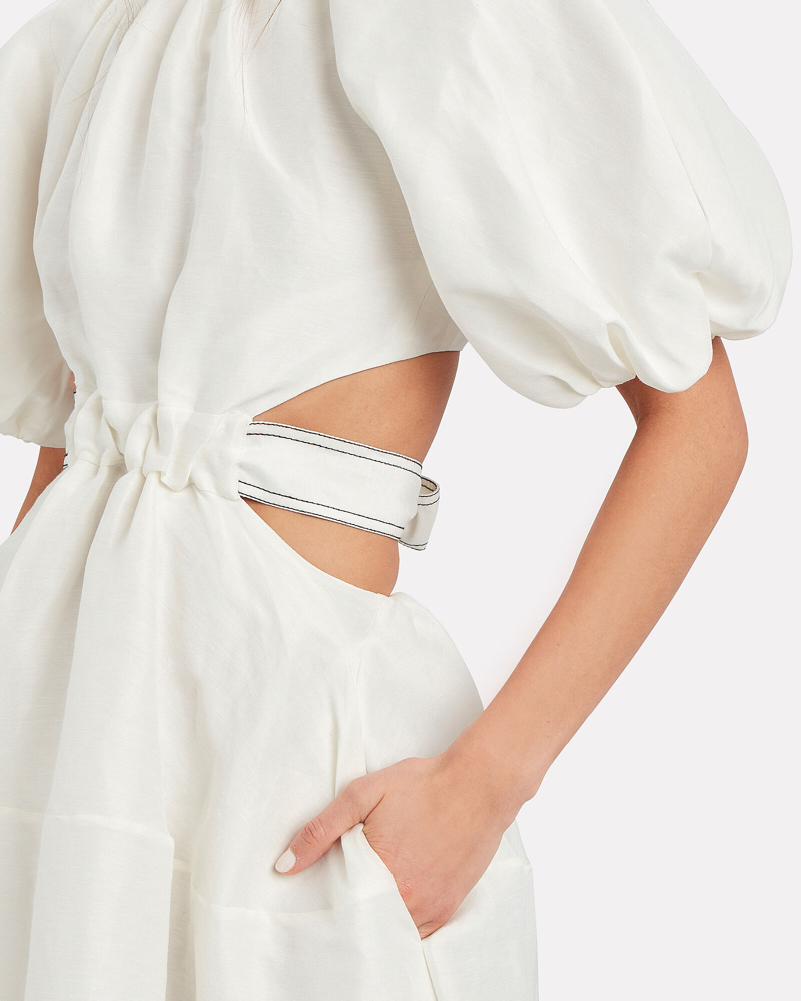 Puff Sleeve Cut-Out Dress, WHITE, hi-res