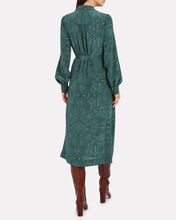 Juliana Paisley Silk Shirt Dress, GREEN, hi-res