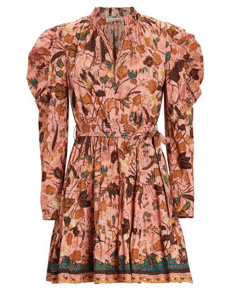 Naima Printed Puff Sleeve Dress, Pink/Orange/Brown, hi-res