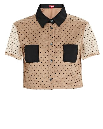 Hillary Cropped Dot Tulle Shirt, BEIGE/BLACK, hi-res
