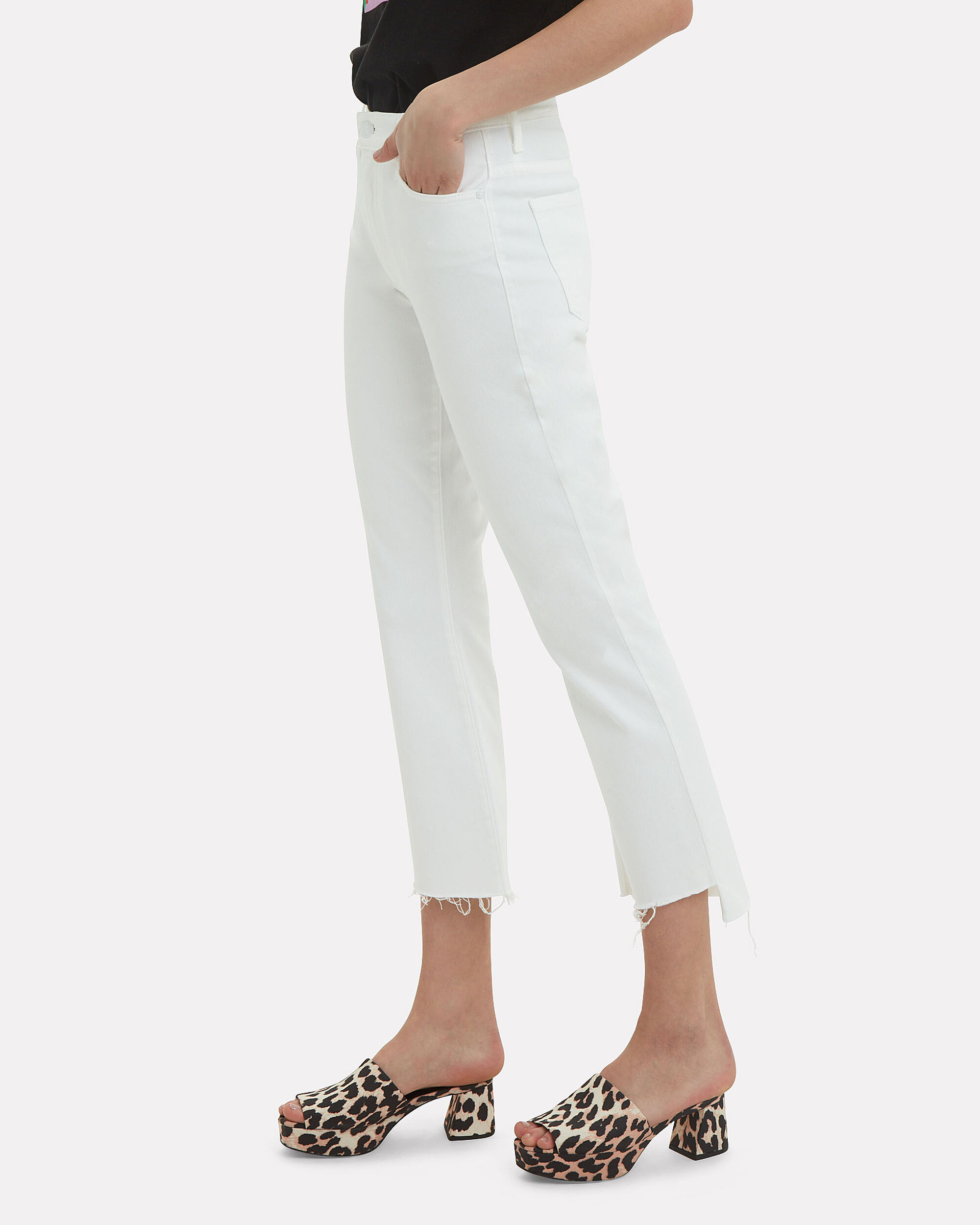 Insider Crop Step Fray White Jeans, WHITE, hi-res