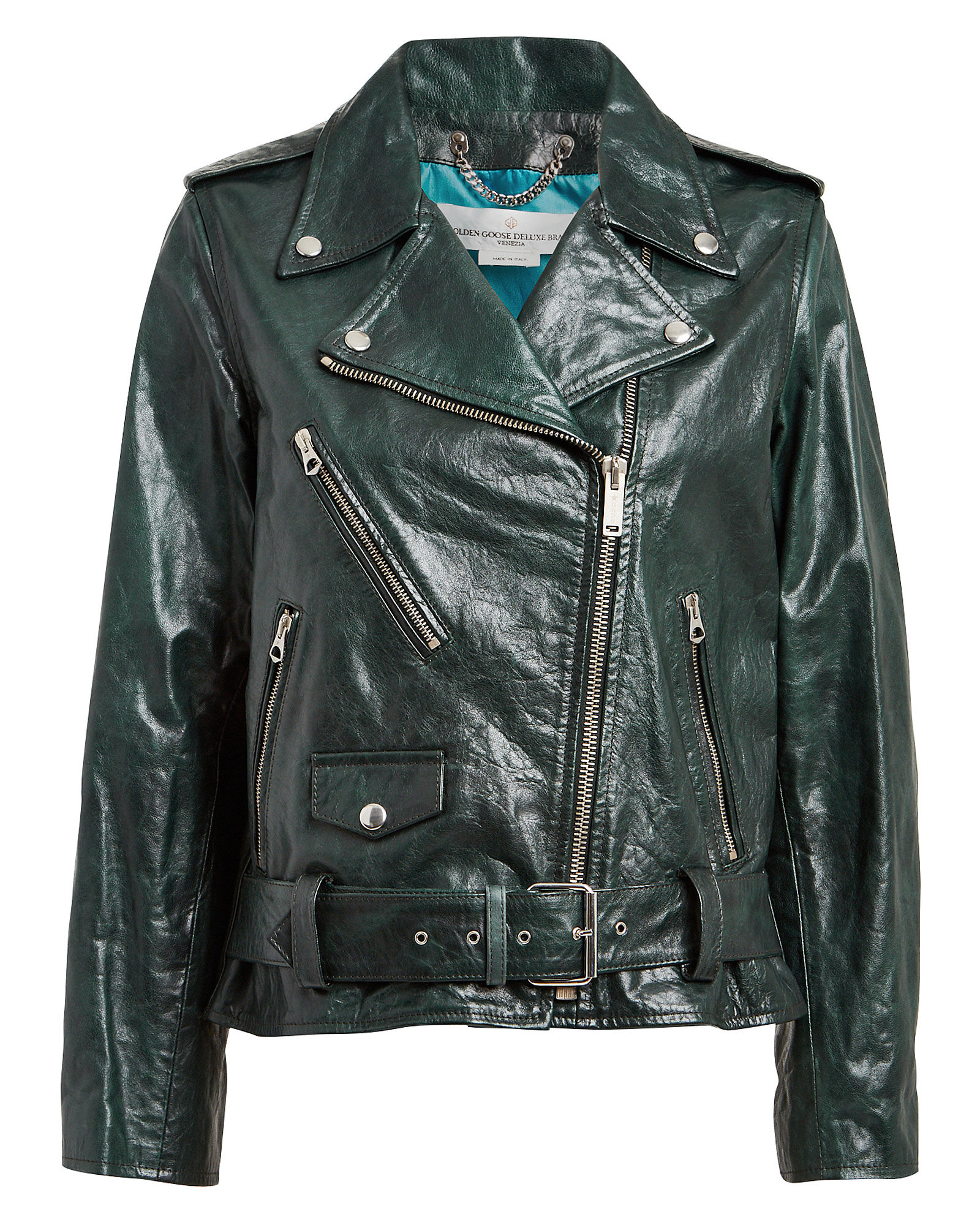 Chiodo Oversized Leather Moto Jacket, TEAL, hi-res