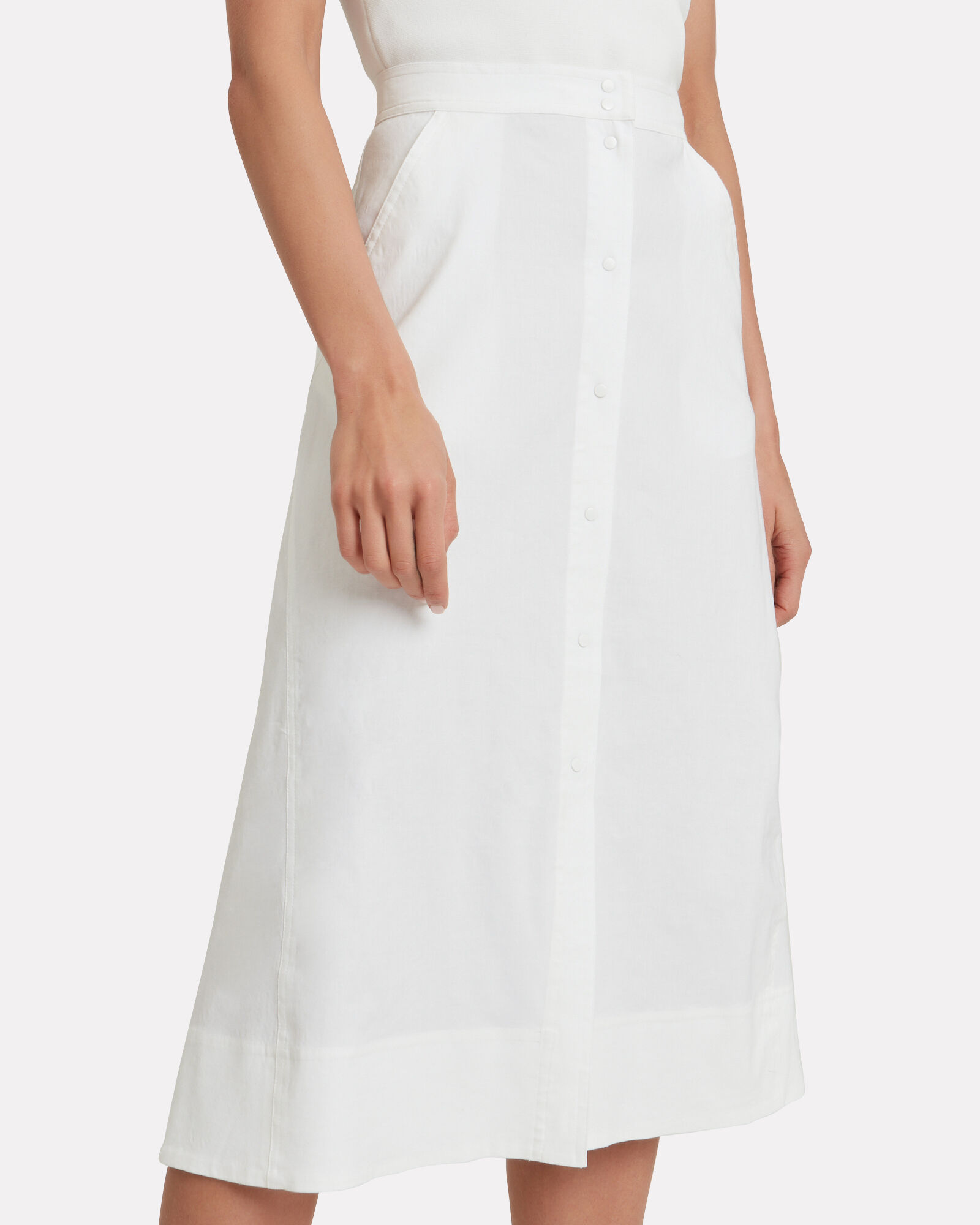 Jayce Button Front Skirt, WHITE, hi-res