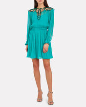 Embroidered Crepe Chiffon Mini Dress, GREEN, hi-res
