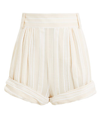 Striped High-Rise Shorts, IVORY/STRIPE, hi-res