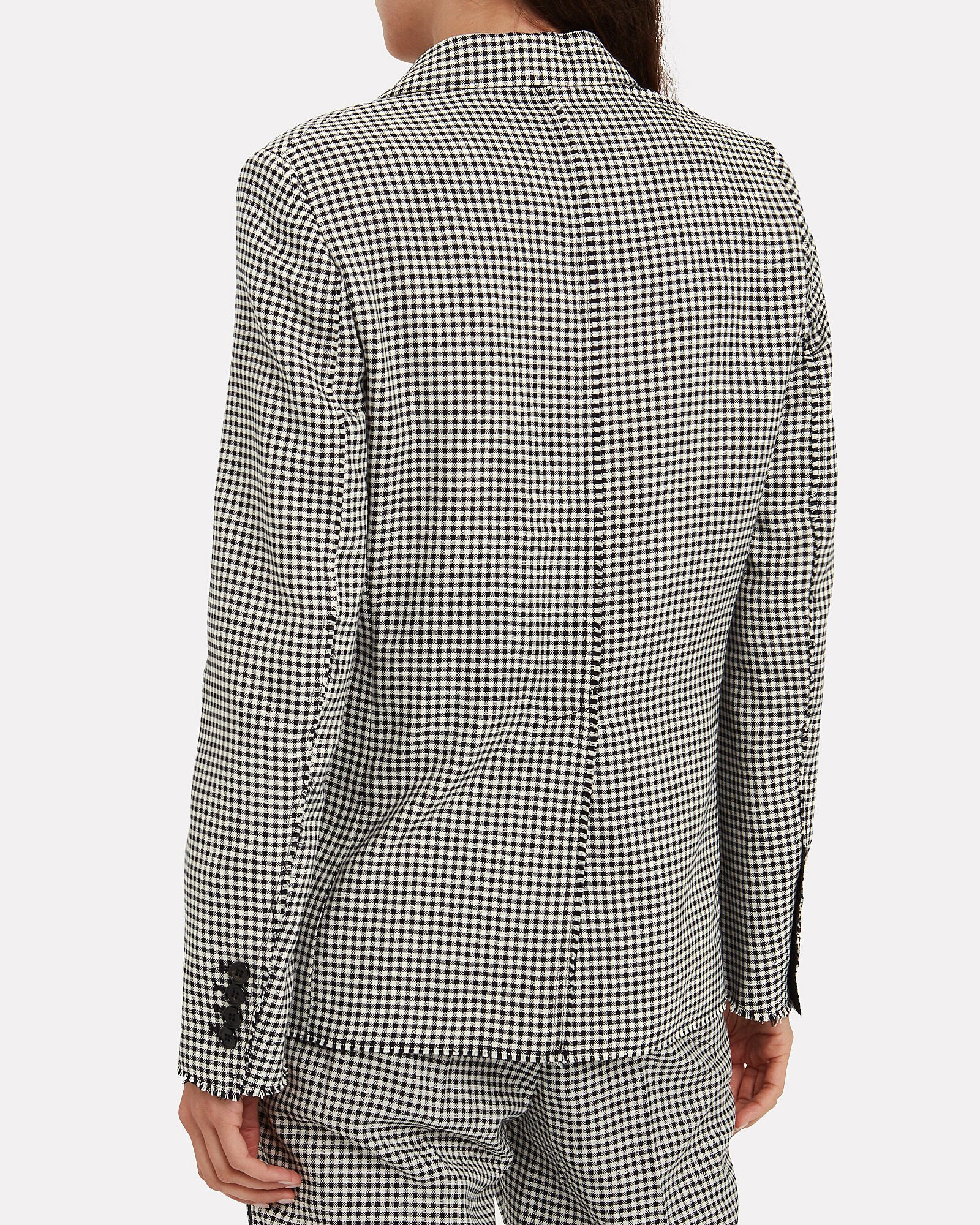Golden Checked Wool-Cotton Blazer, BLK/WHT, hi-res