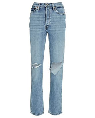 80s Slim Distressed Straight-Leg Jeans, BRISK BLUE, hi-res