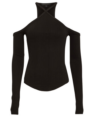 Cold Shoulder Ribbed Top, BLACK, hi-res