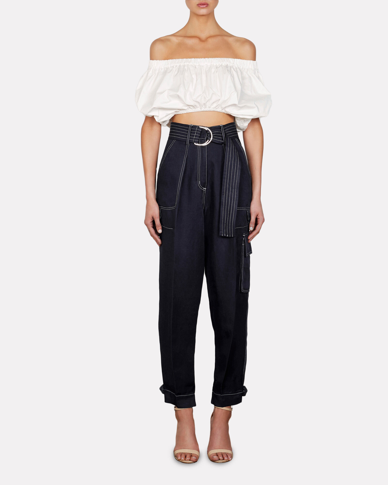 Grant Off-the-Shoulder Crop Top, WHITE, hi-res
