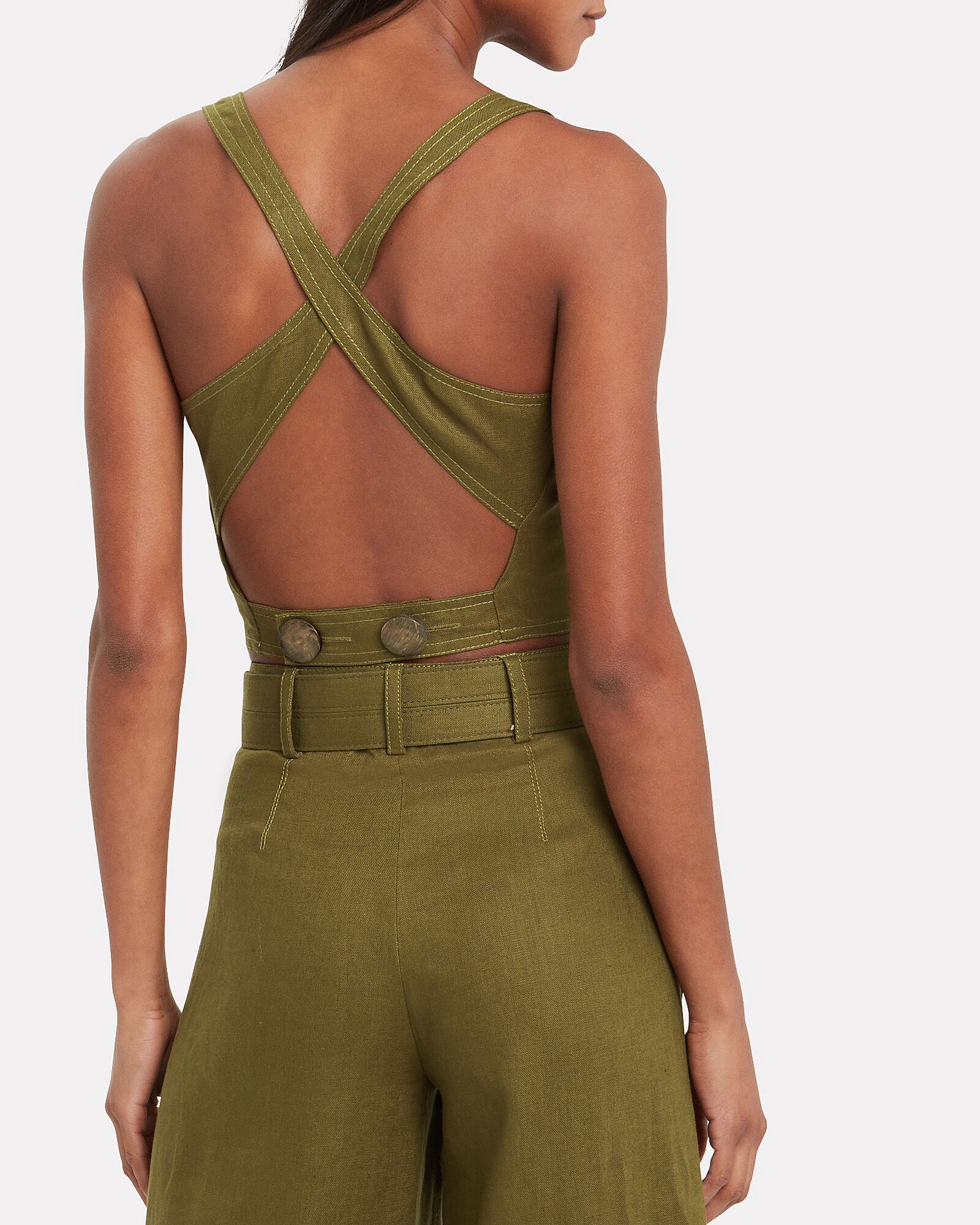 Pinafore Linen Crop Top, GREEN, hi-res