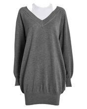 Bi-Layer Wool Sweater Dress, GREY, hi-res