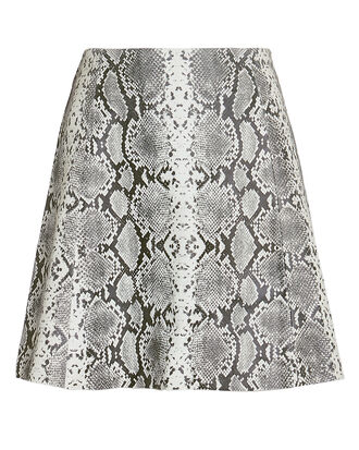 Leather Snake Print Mini Skirt, GREY SNAKESKIN PRINT, hi-res