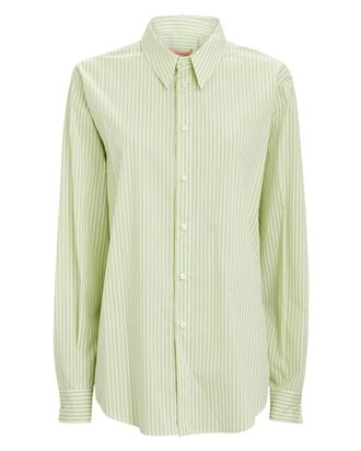 Georgia Striped Button-Down Shirt, LIGHT GREEN/WHITE, hi-res