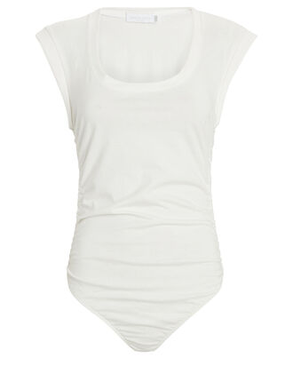 Bower Scoop Neck Cotton Bodysuit, WHITE, hi-res