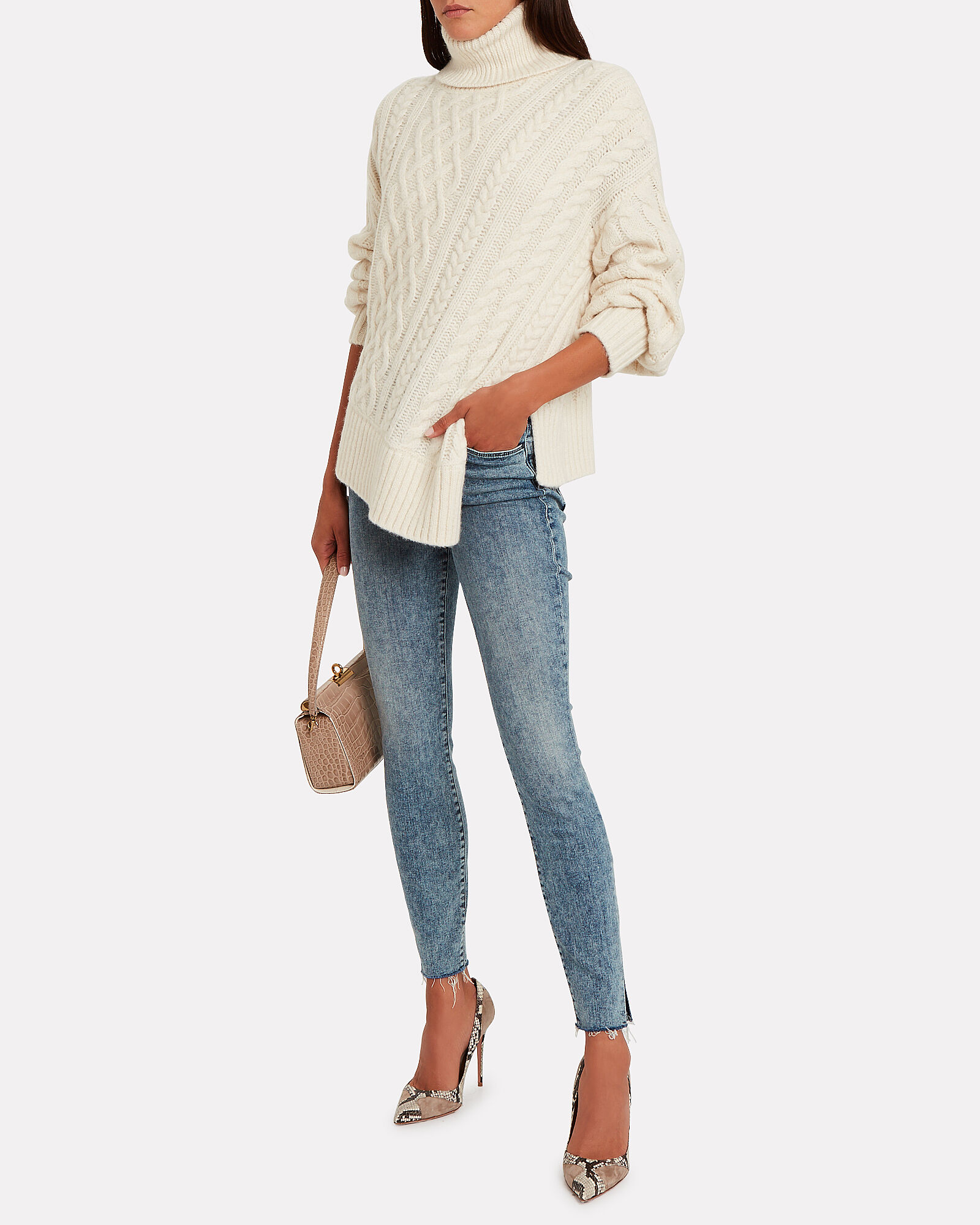 Nevelson Cable Knit Alpaca-Blend Turtleneck, IVORY, hi-res
