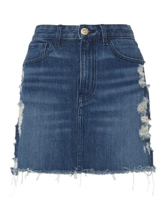 Celine Distressed Denim Mini Skirt, DENIM, hi-res