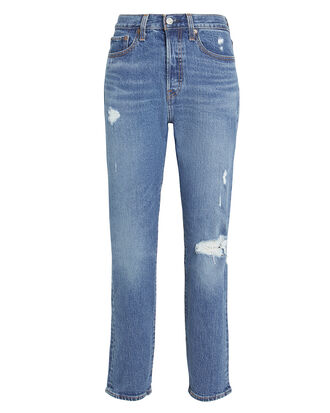 Wedgie Icon Distressed Jeans, FADED BLUE DENIM, hi-res