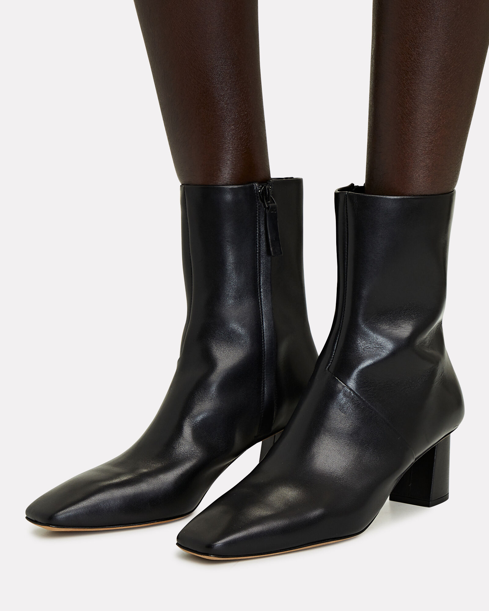 Tess Leather Square Toe Boots, BLACK, hi-res