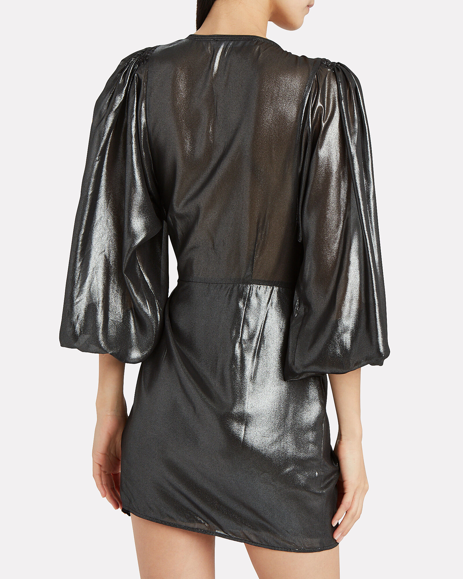 Hanny Metallic Chiffon Wrap Dress, BLACK, hi-res