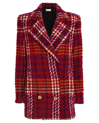 Devon Double-Breasted Bouclé Blazer, RED/BLACK, hi-res