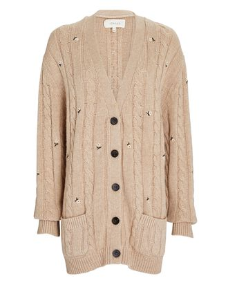 The Embroidered Cable Knit Cardigan, BEIGE, hi-res
