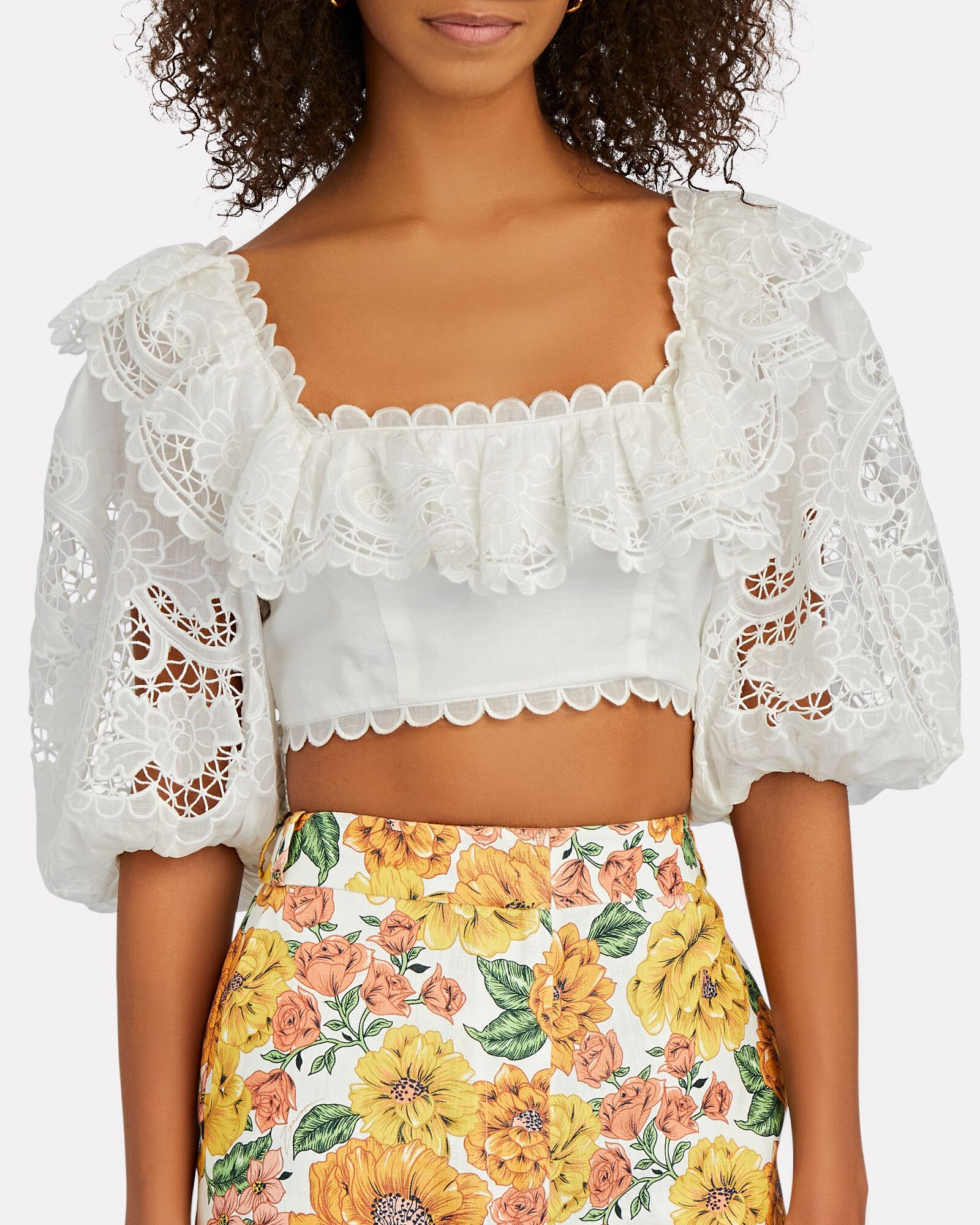 Lulu Scalloped Crop Top, IVORY, hi-res