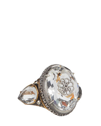 Signature Crystal Ring, GOLD, hi-res