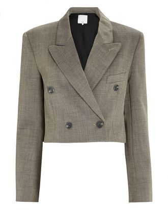 Cropped Double-Breasted Blazer, GREY, hi-res