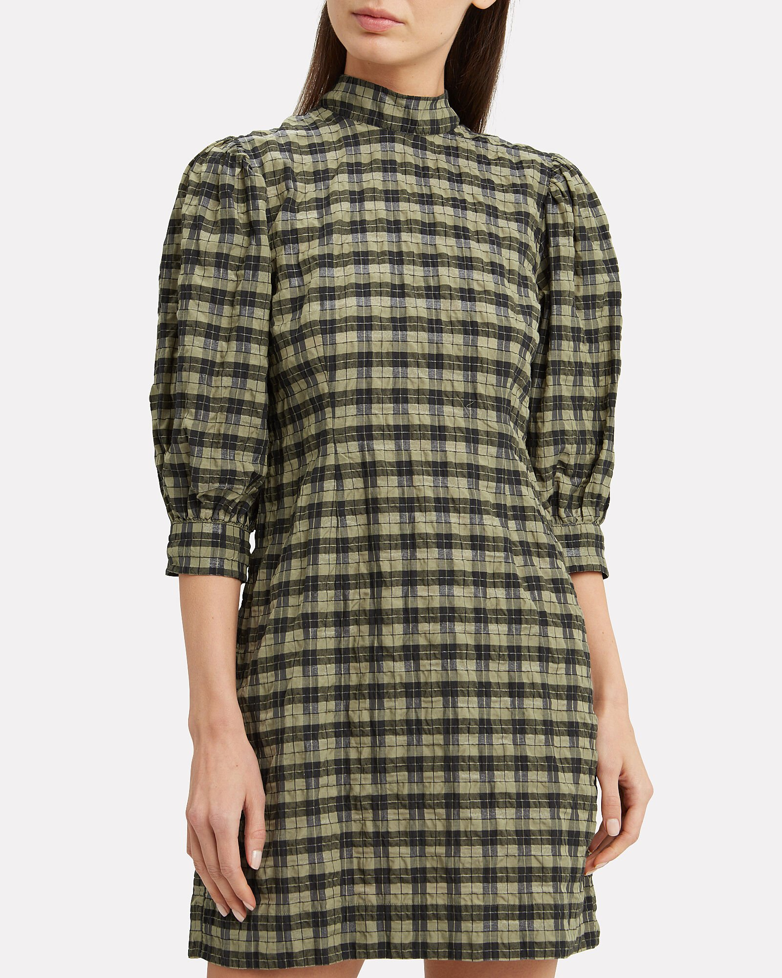 Gingham Seersucker Dress, OLIVE/ARMY, hi-res