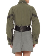 Leather Waist Military Jacket, GREEN, hi-res