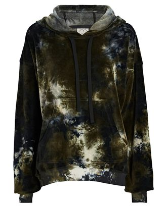 Mateo Hooded Tie-Dye Velour Sweatshirt, BLACK/GREEN, hi-res